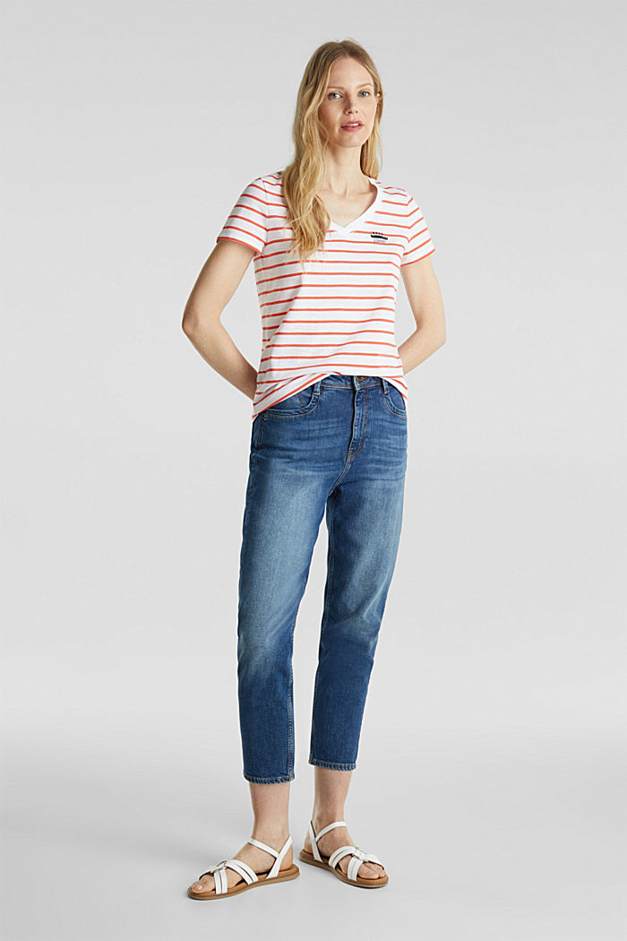 Striped top, 100% organic cotton, CORAL, detail image number 1