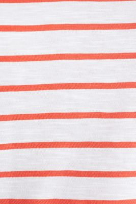 Striped top, 100% organic cotton, CORAL, detail