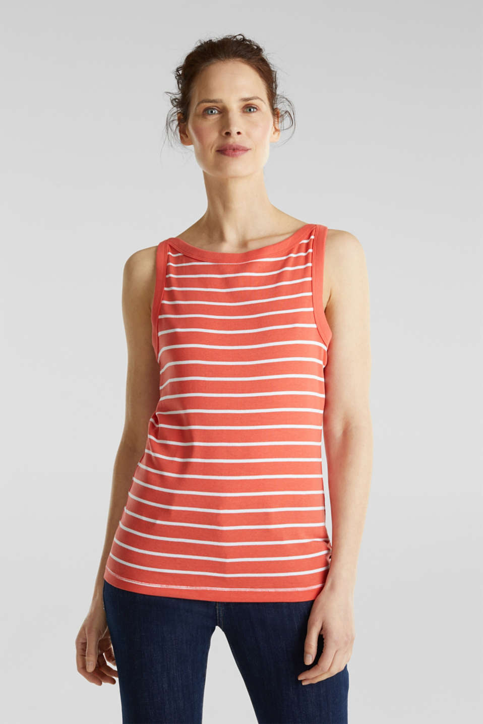 Striped T-shirt, organic cotton, CORAL 4, detail image number 0