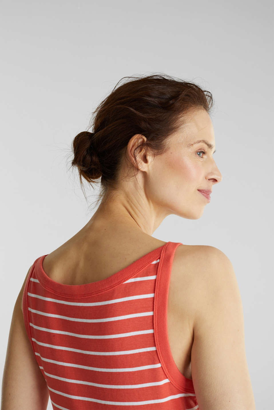 Striped T-shirt, organic cotton, CORAL 4, detail image number 2