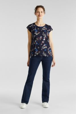 Printed top made of 100% organic cotton, NAVY, detail