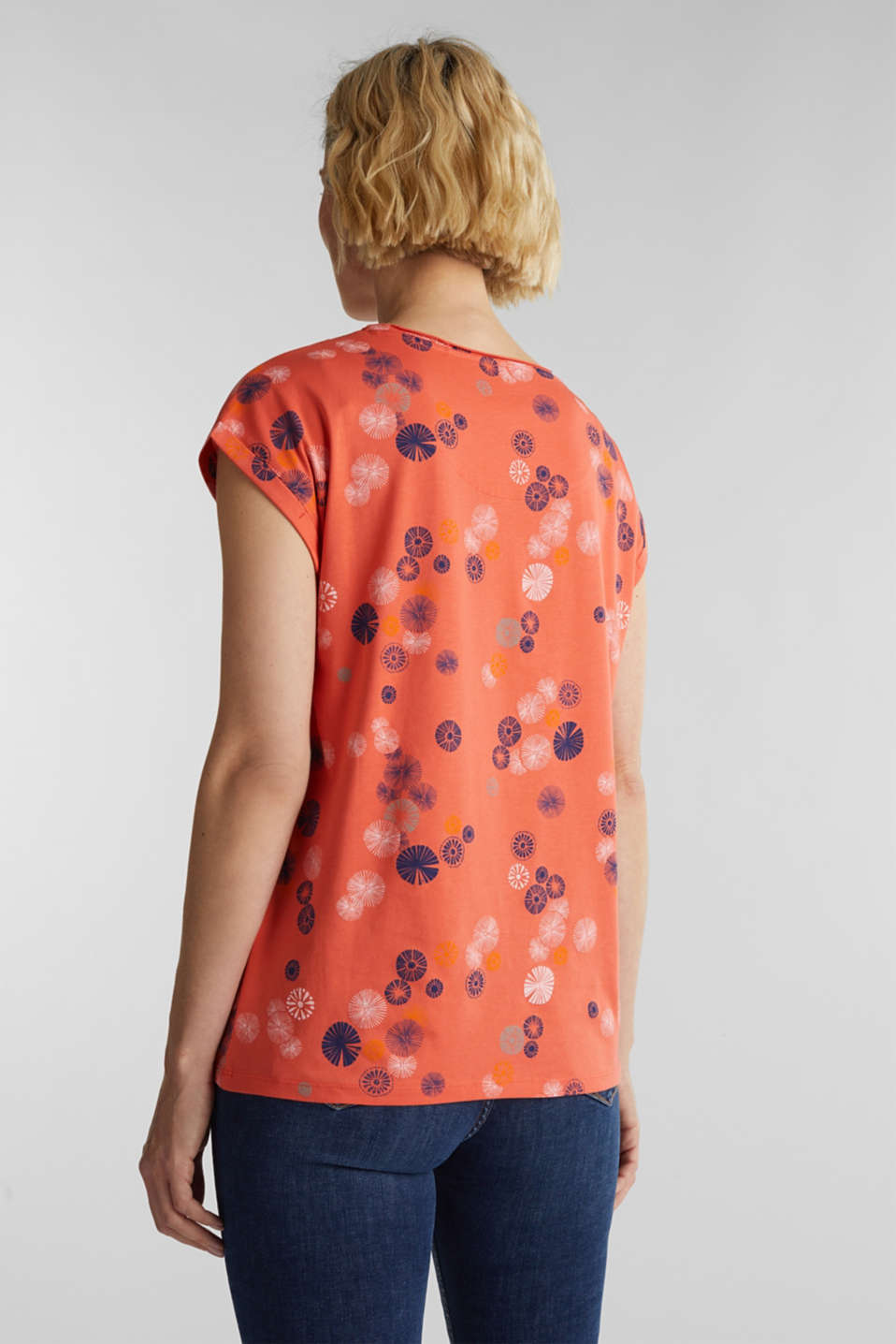 Printed top made of 100% organic cotton, CORAL, detail image number 3