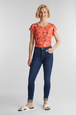 Printed top made of 100% organic cotton, CORAL, detail