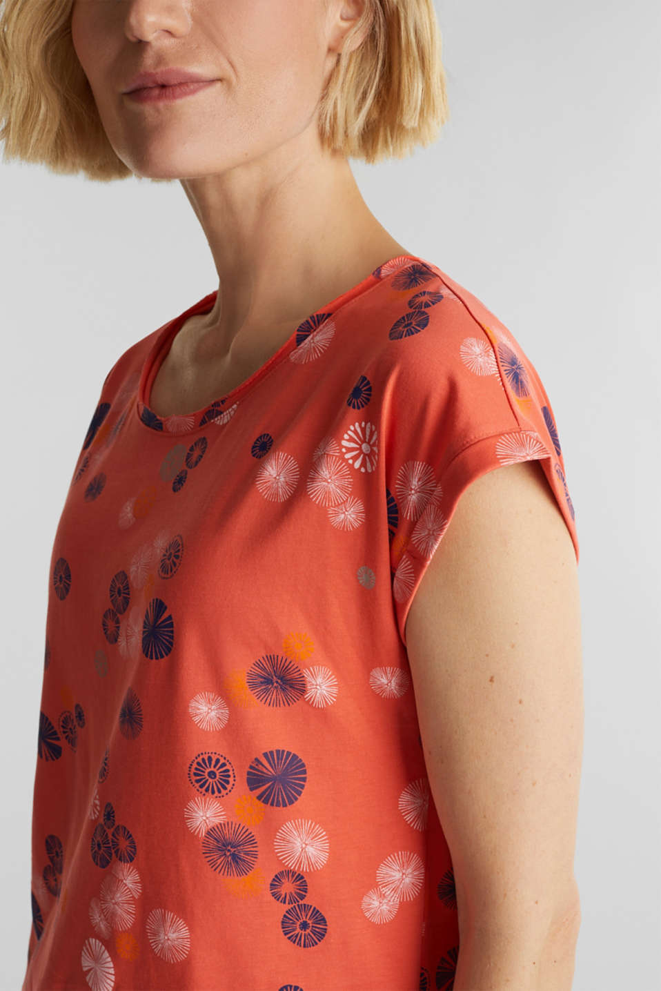 Printed top made of 100% organic cotton, CORAL, detail image number 2