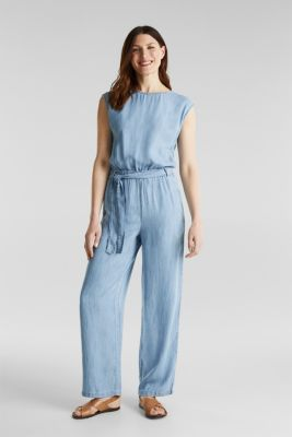 Made of TENCEL™: jumpsuit with a cut-out, BLUE BLEACHED, detail