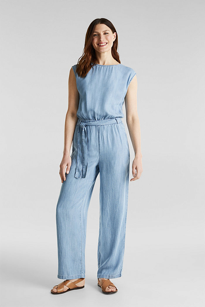 Made of TENCEL™: jumpsuit with a cut-out, BLUE BLEACHED, detail image number 0
