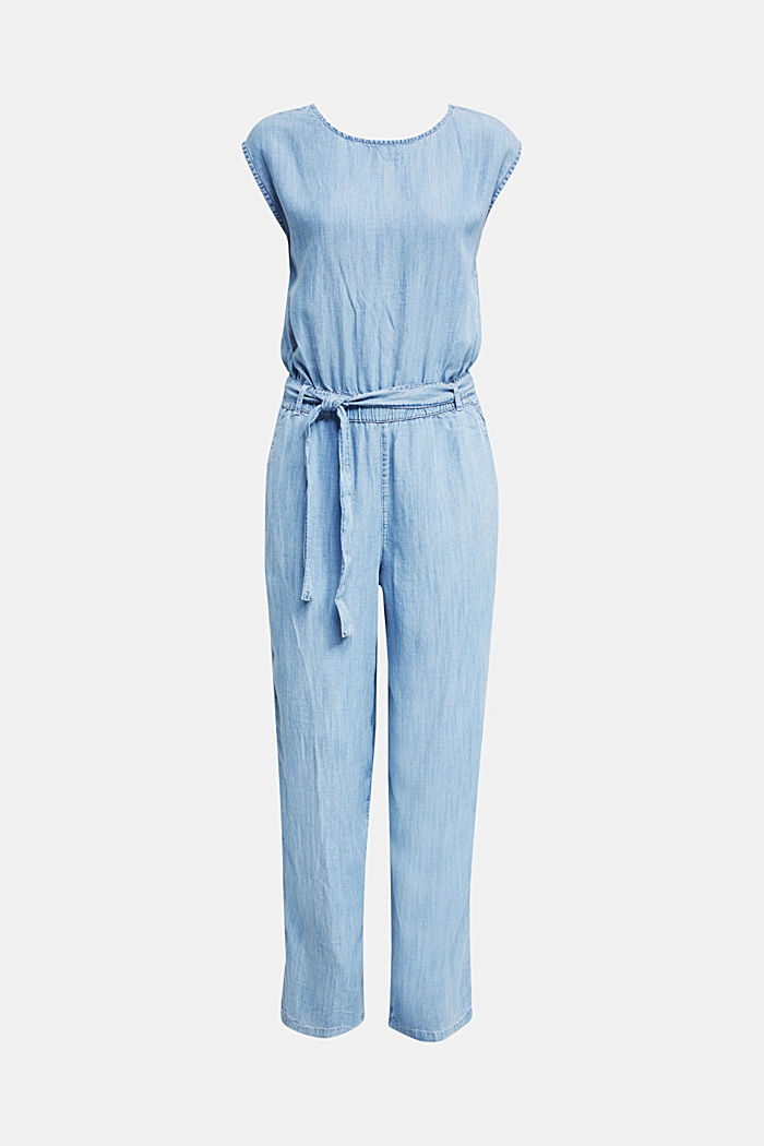 Made of TENCEL™: jumpsuit with a cut-out, BLUE BLEACHED, overview