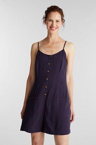 Playsuit with a button placket