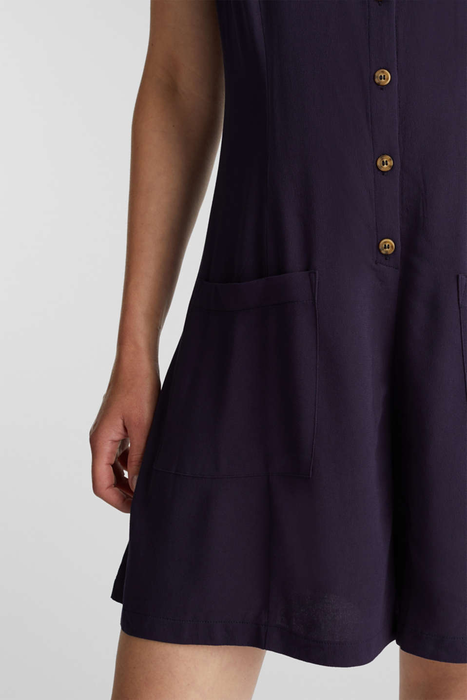 Playsuit with a button placket, NAVY, detail image number 2