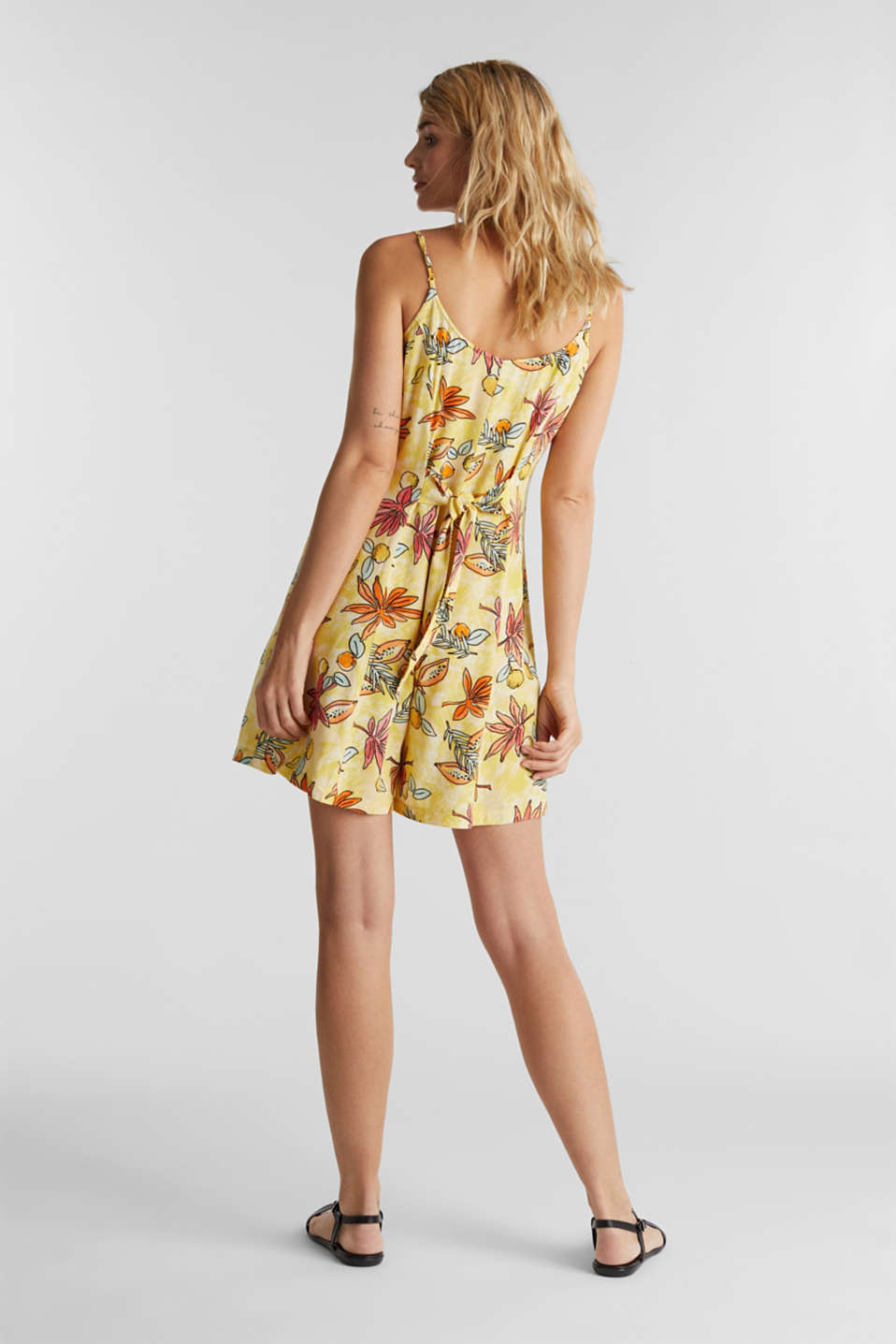 Woven playsuit with a fruit print, BRIGHT YELLOW 4, detail image number 3