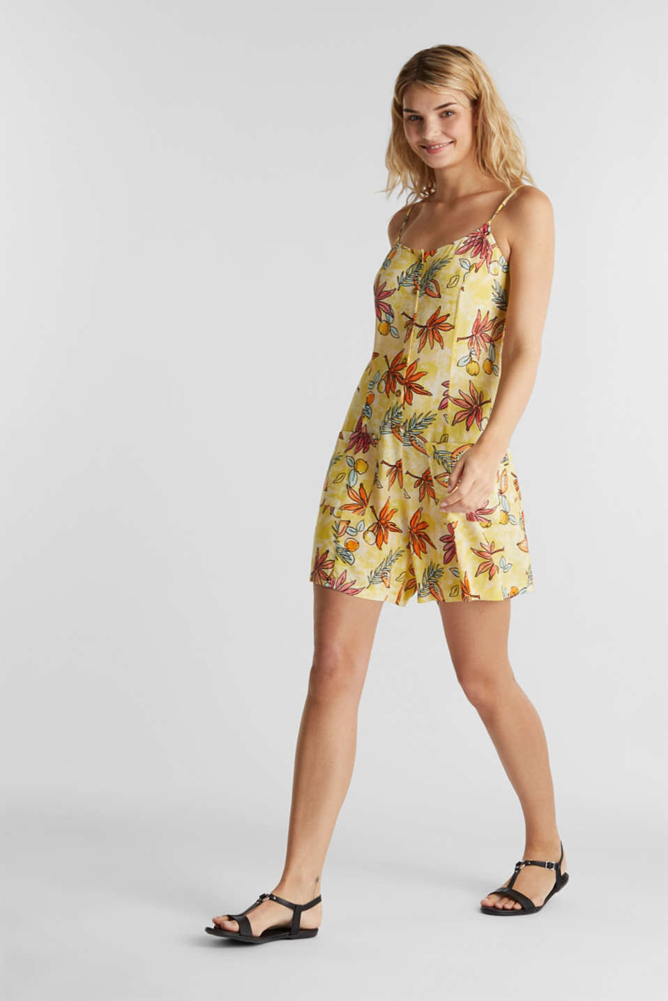 Woven playsuit with a fruit print, BRIGHT YELLOW 4, detail image number 1