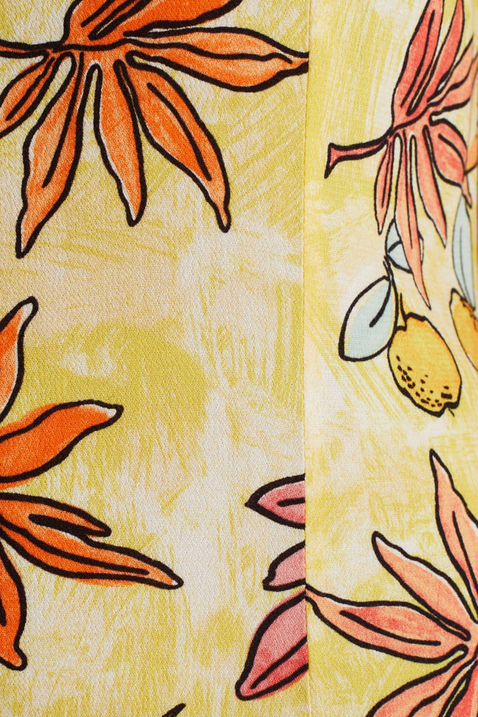 Woven playsuit with a fruit print, BRIGHT YELLOW 4, detail image number 4