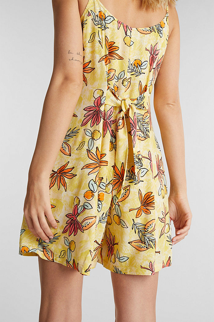 Woven playsuit with a fruit print, BRIGHT YELLOW, detail image number 5