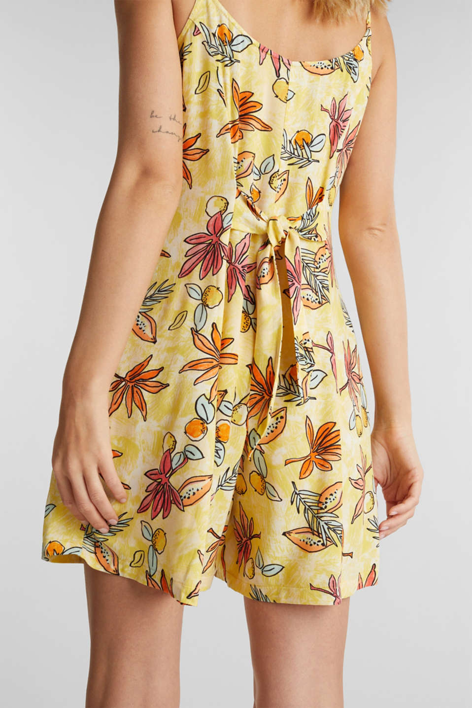 Woven playsuit with a fruit print, BRIGHT YELLOW 4, detail image number 5