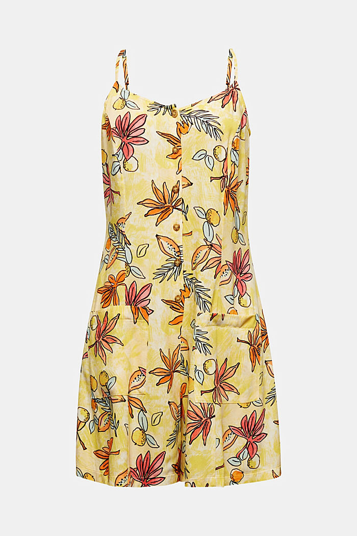 Woven playsuit with a fruit print, BRIGHT YELLOW, detail image number 7
