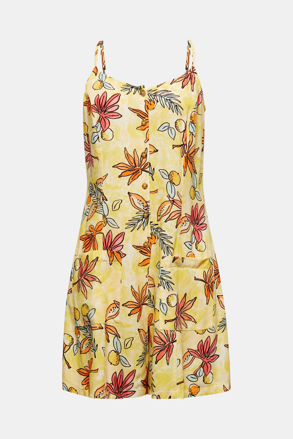 Woven playsuit with a fruit print, BRIGHT YELLOW 4, detail image number 7