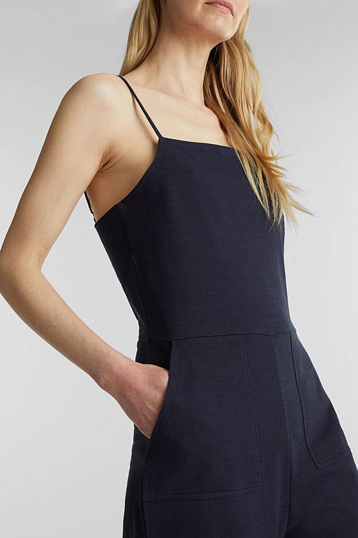 Blended linen jumpsuit, NAVY, detail image number 3