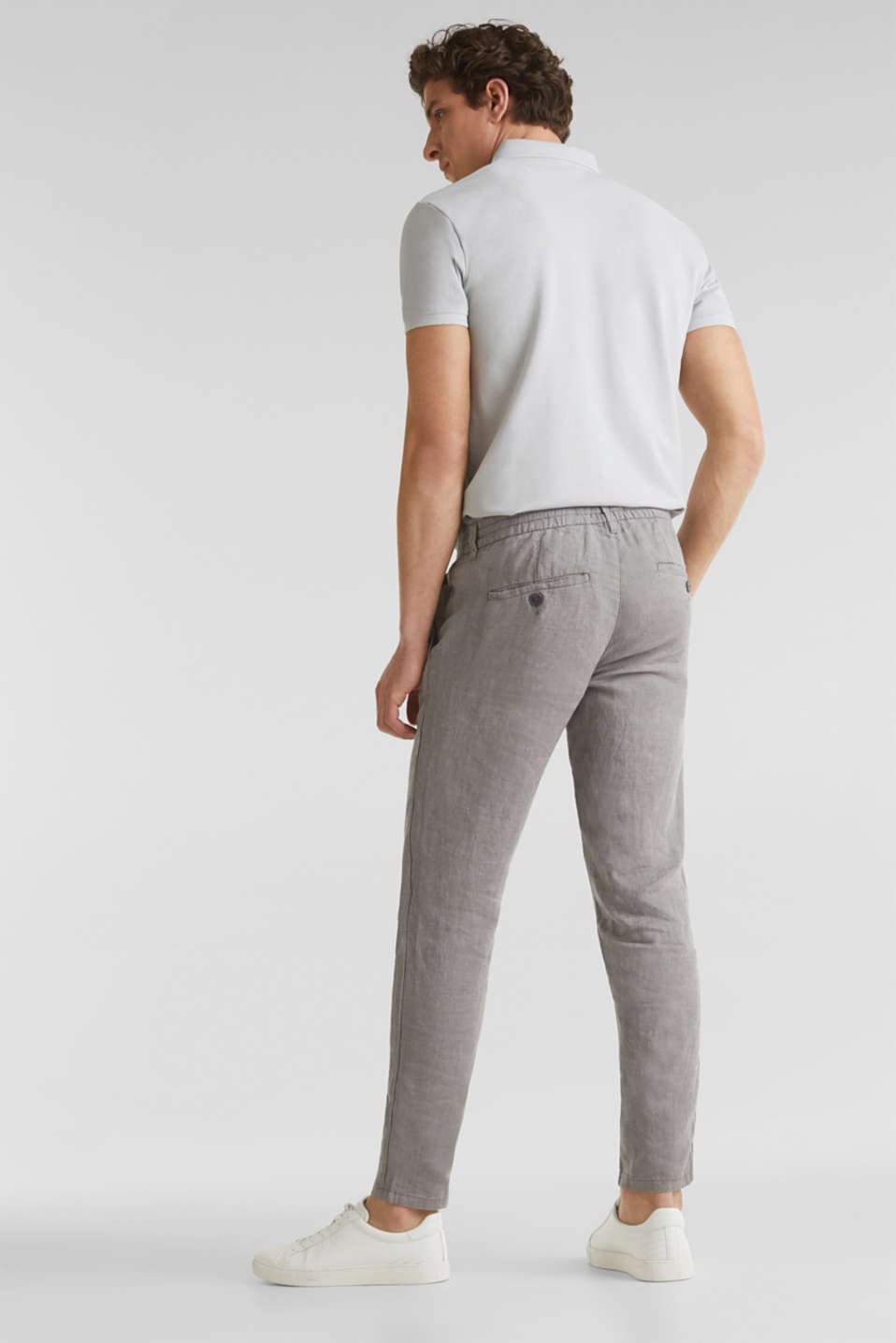100% linen: trousers with a drawstring waistband, GREY, detail image number 2