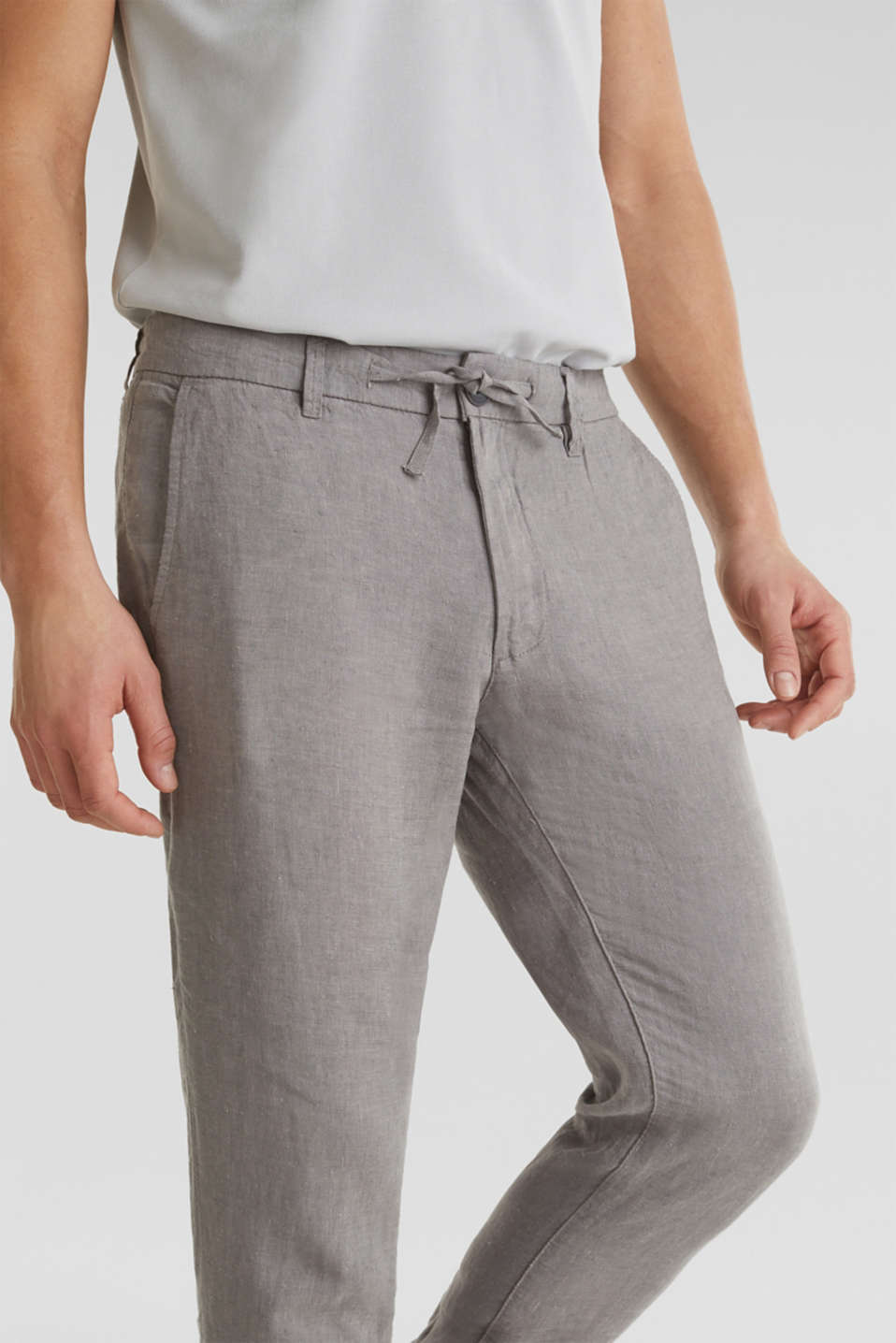 100% linen: trousers with a drawstring waistband, GREY, detail image number 1