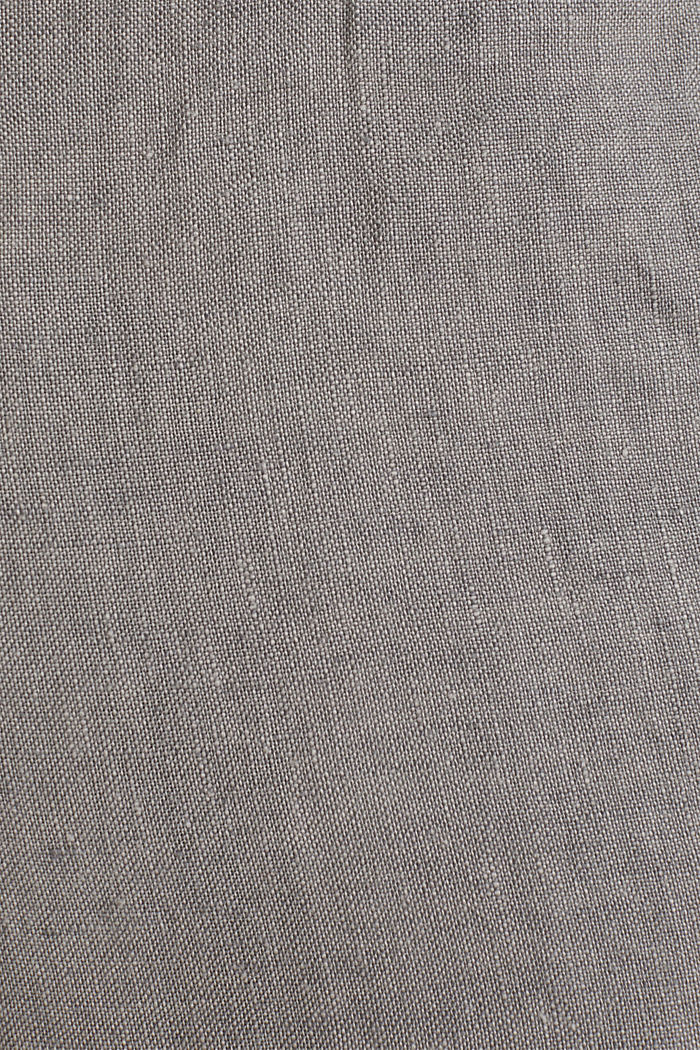 100% linen: trousers with a drawstring waistband, GREY, detail image number 3