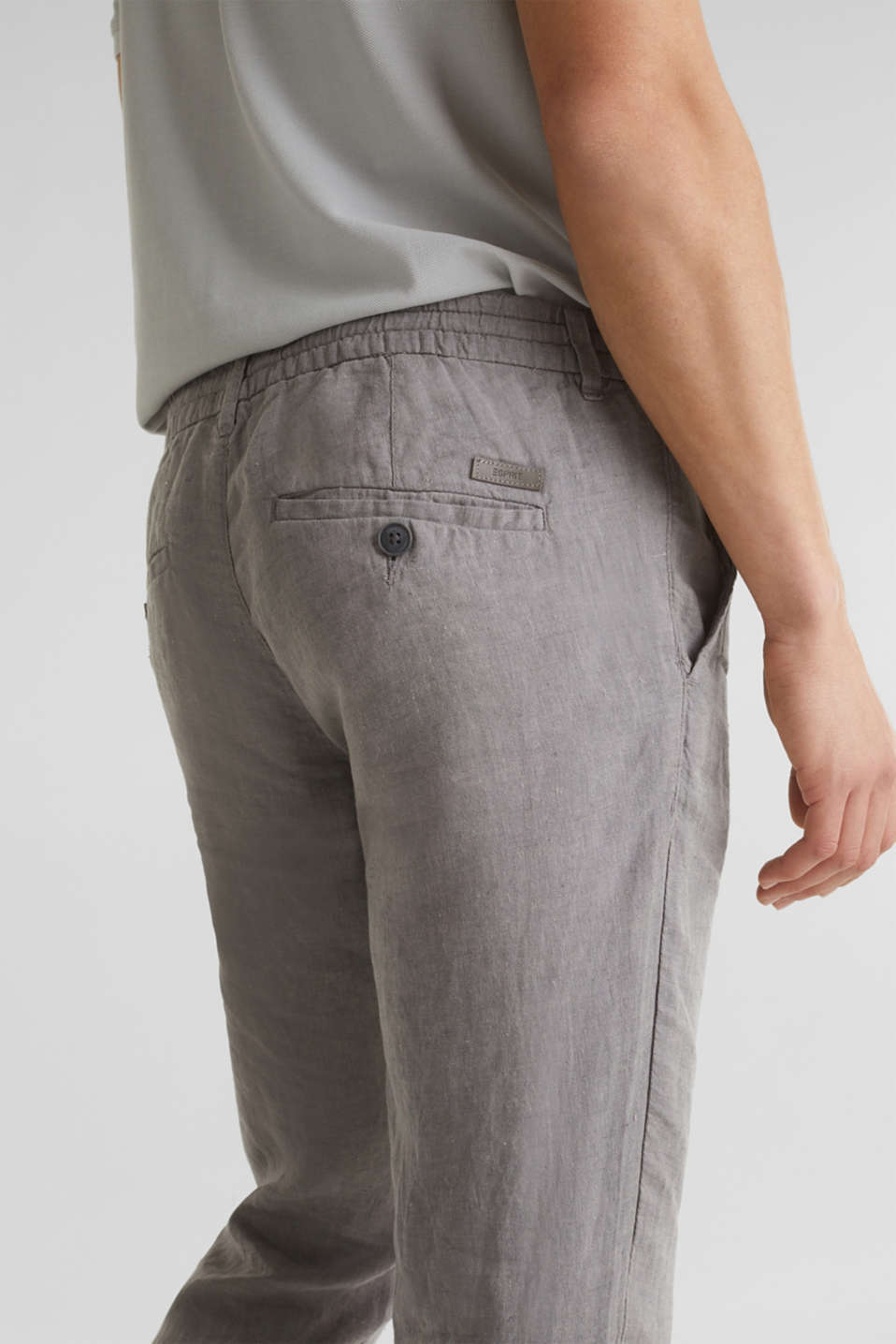 100% linen: trousers with a drawstring waistband, GREY, detail image number 4