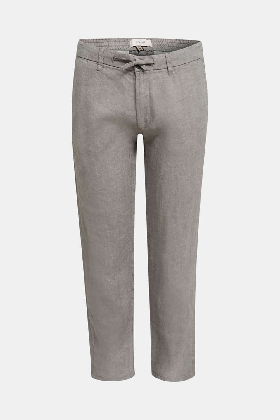 100% linen: trousers with a drawstring waistband, GREY, detail image number 6