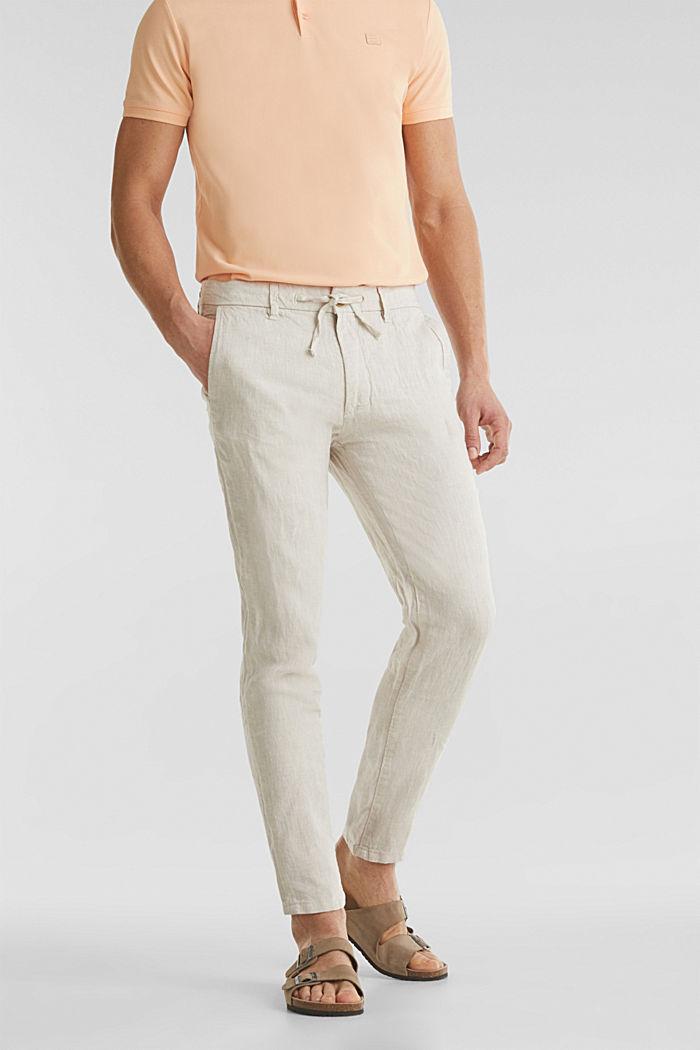 100% len: kalhoty se šňůrkou na stažení v pase, BEIGE, detail image number 0