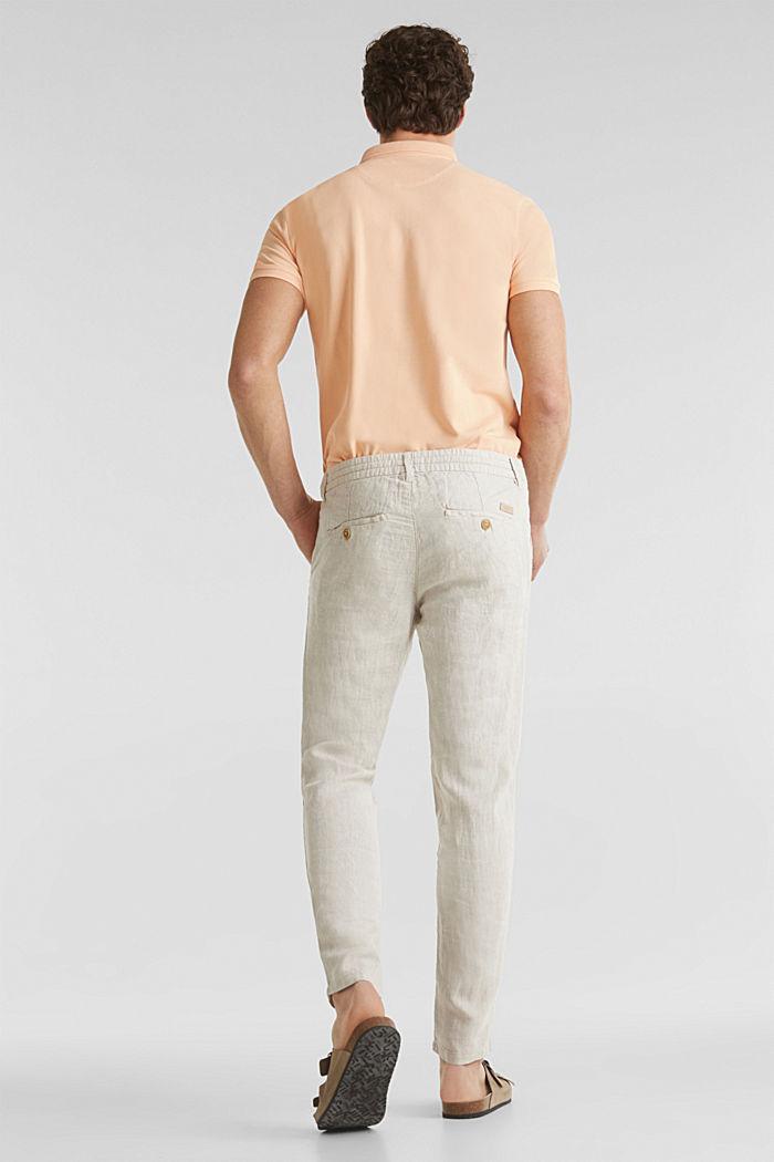 100% len: kalhoty se šňůrkou na stažení v pase, BEIGE, detail image number 3