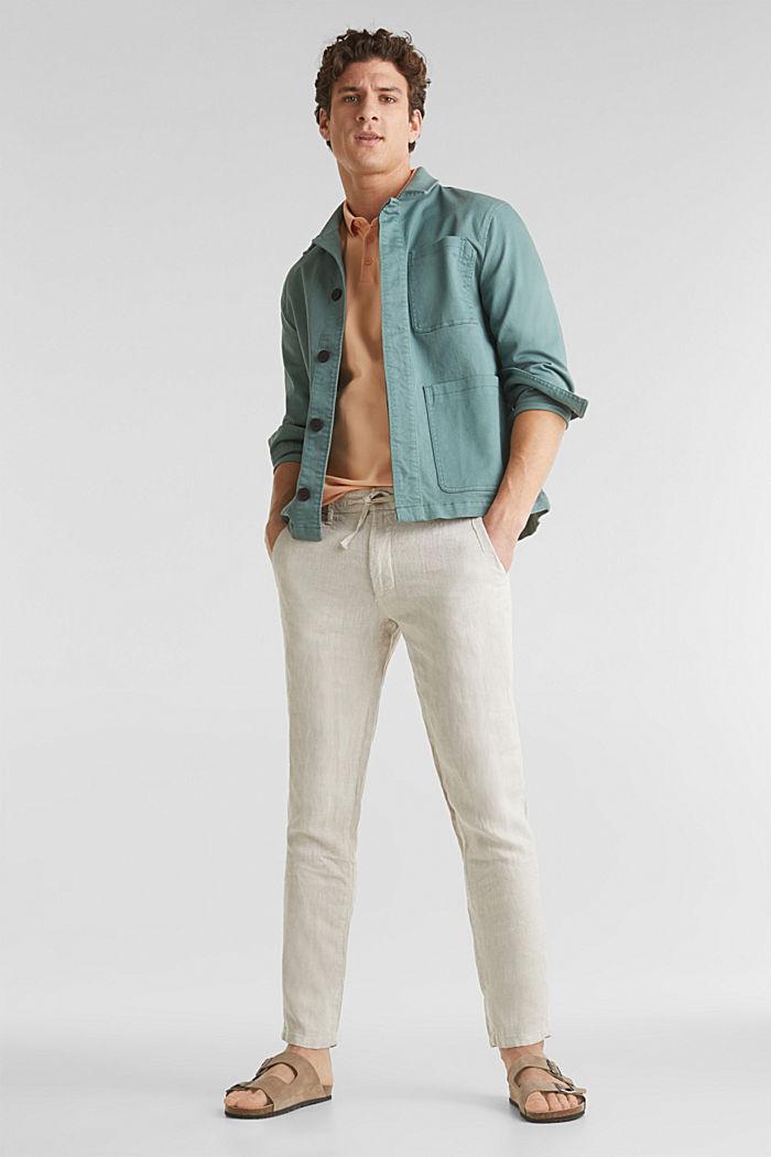 100% len: kalhoty se šňůrkou na stažení v pase, BEIGE, detail image number 1