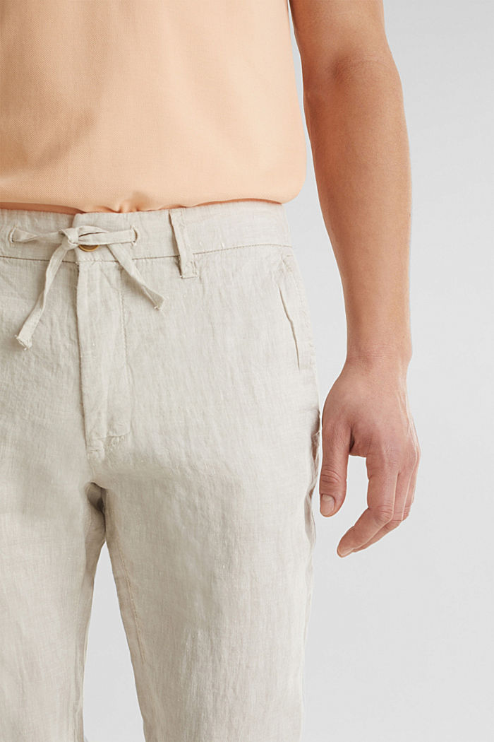 100% linen: trousers with a drawstring waistband, BEIGE, detail image number 2