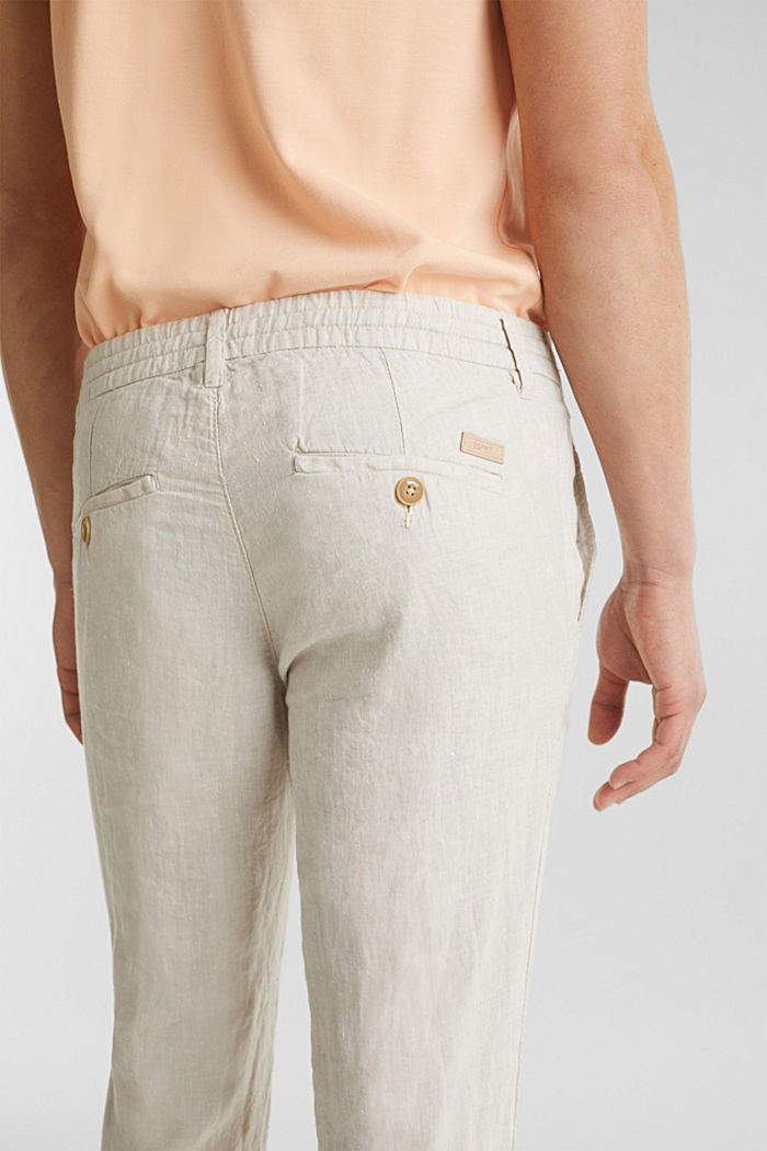 100% linen: trousers with a drawstring waistband, BEIGE, detail image number 5
