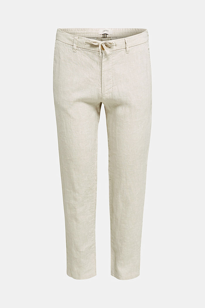 100% linen: trousers with a drawstring waistband