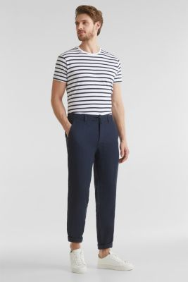 100% linen: trousers with a drawstring waistband, NAVY, detail