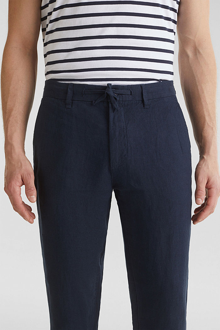 100% linen: trousers with a drawstring waistband, NAVY, detail image number 2