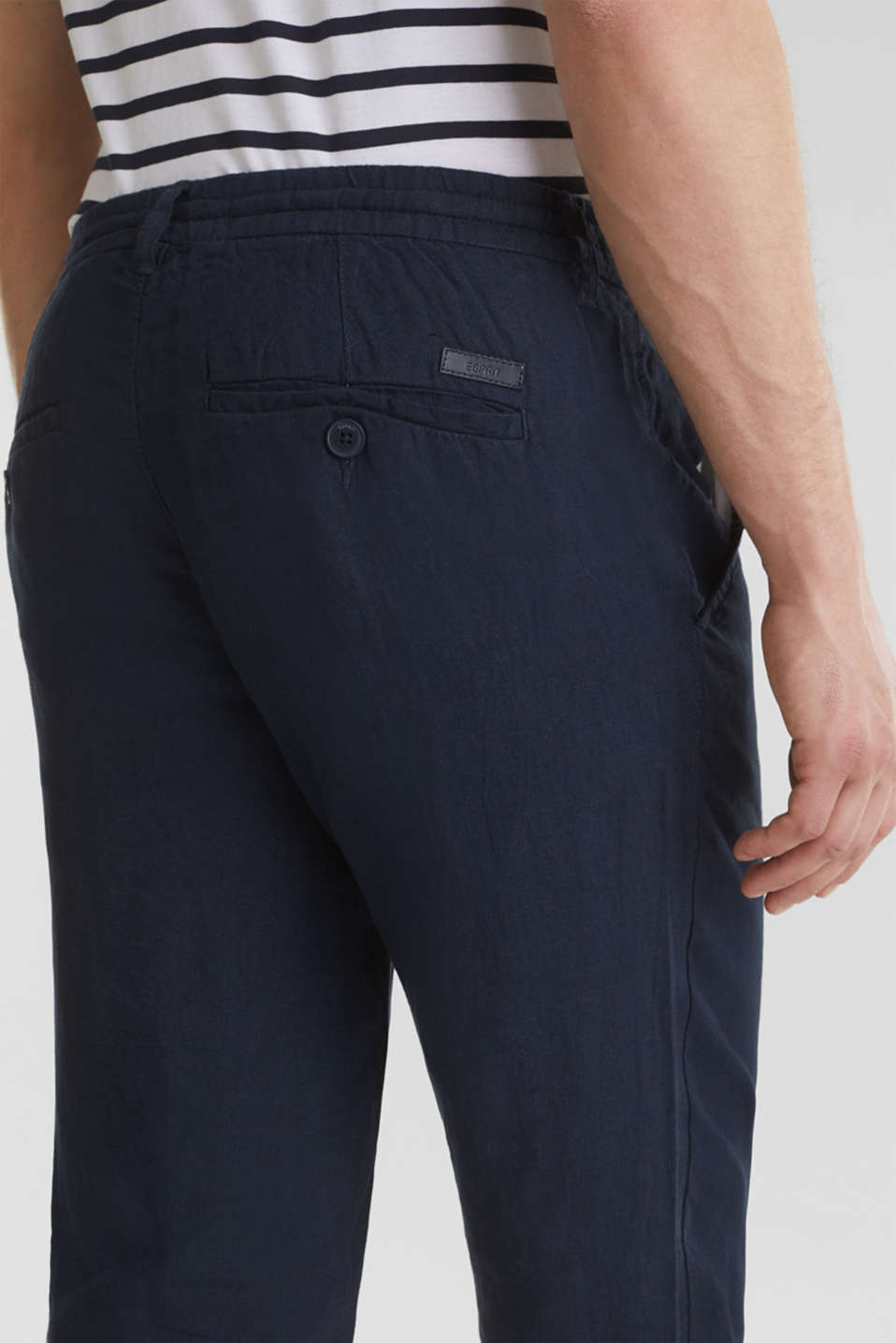 100% linen: trousers with a drawstring waistband, NAVY, detail image number 5