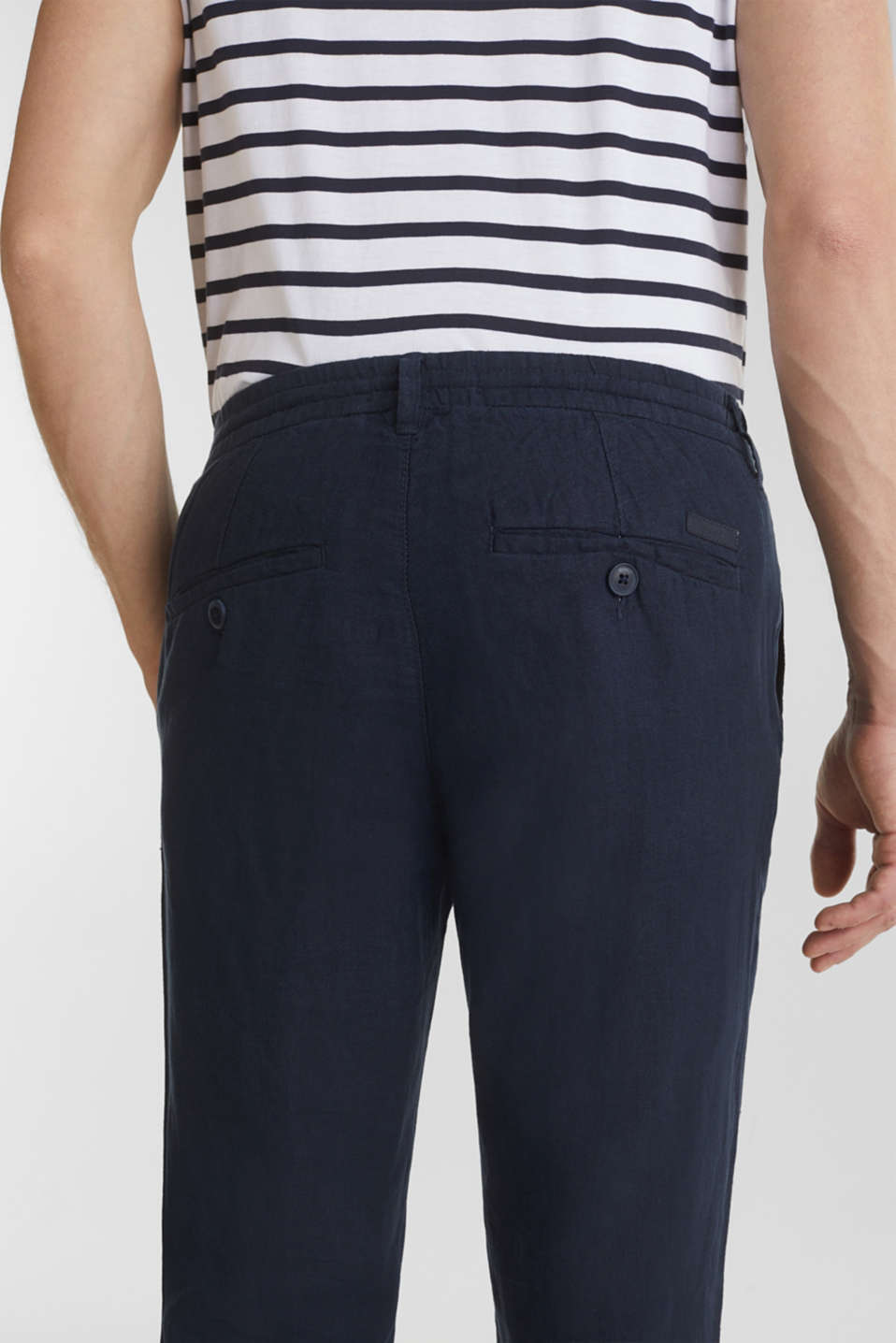 100% linen: trousers with a drawstring waistband, NAVY, detail image number 6