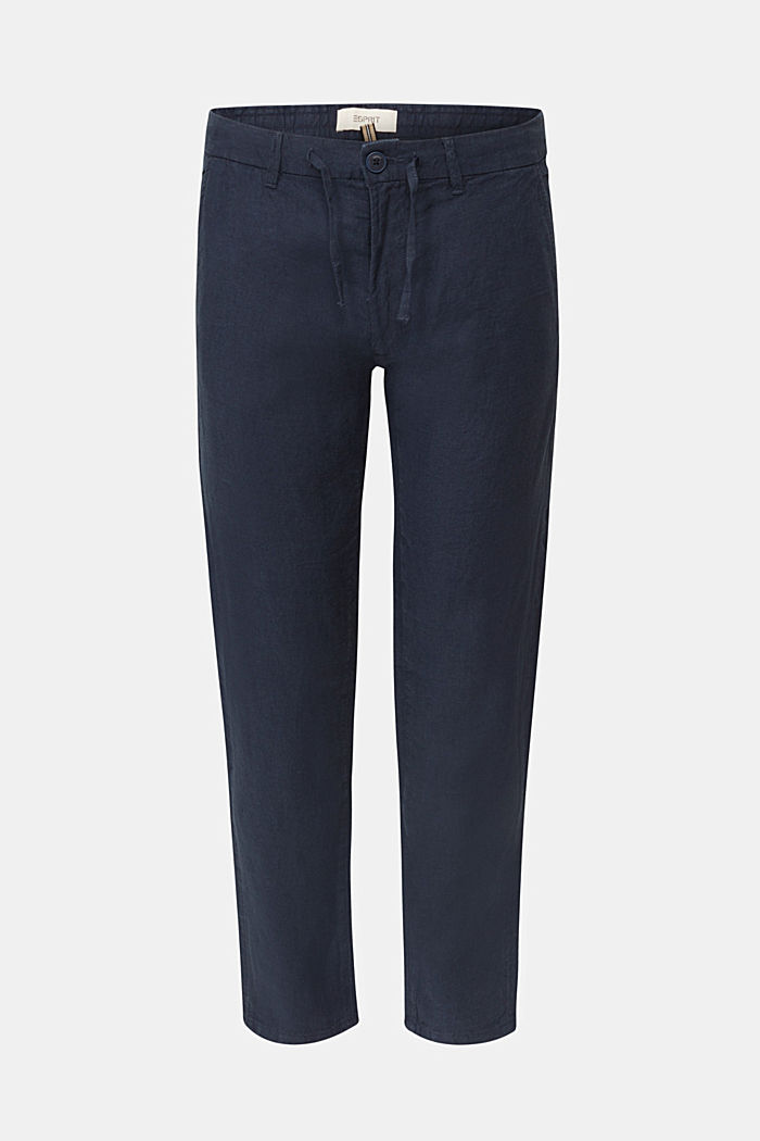 100% linen: trousers with a drawstring waistband, NAVY, detail image number 7