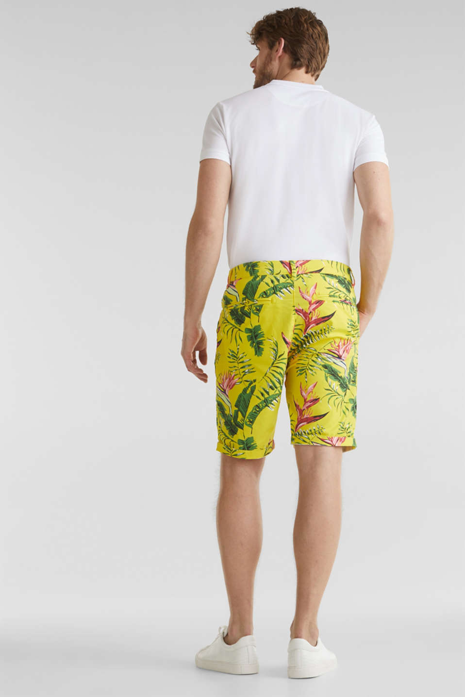 Printed stretch cotton shorts, HONEY YELLOW, detail image number 3