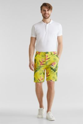 Printed stretch cotton shorts, HONEY YELLOW, detail