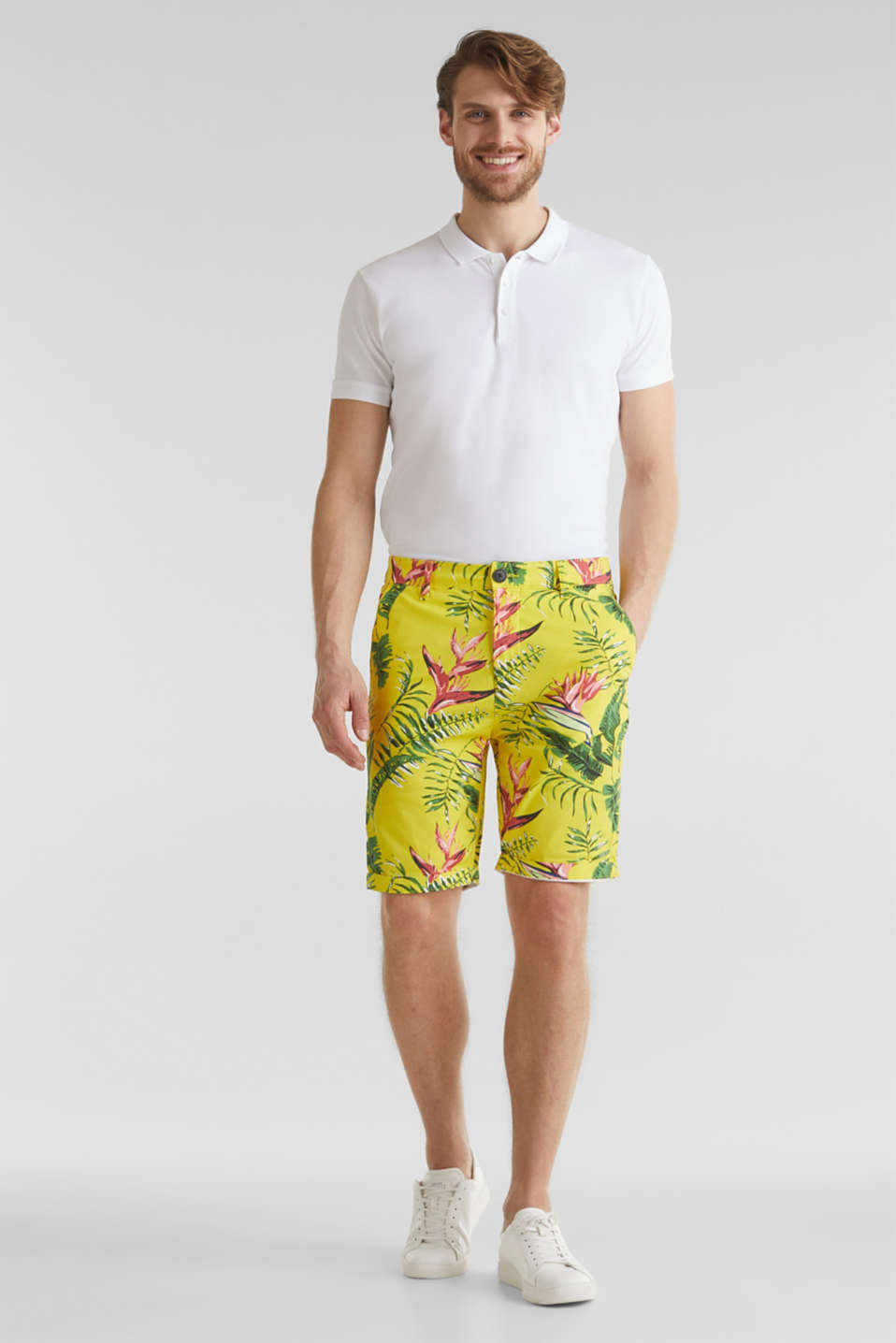 Printed stretch cotton shorts, HONEY YELLOW, detail image number 1