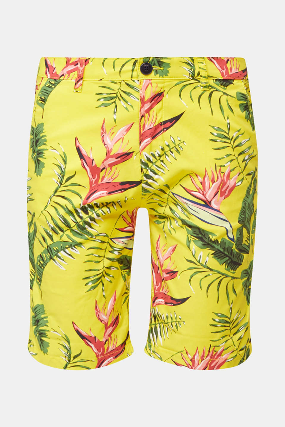 Printed stretch cotton shorts, HONEY YELLOW, detail image number 7