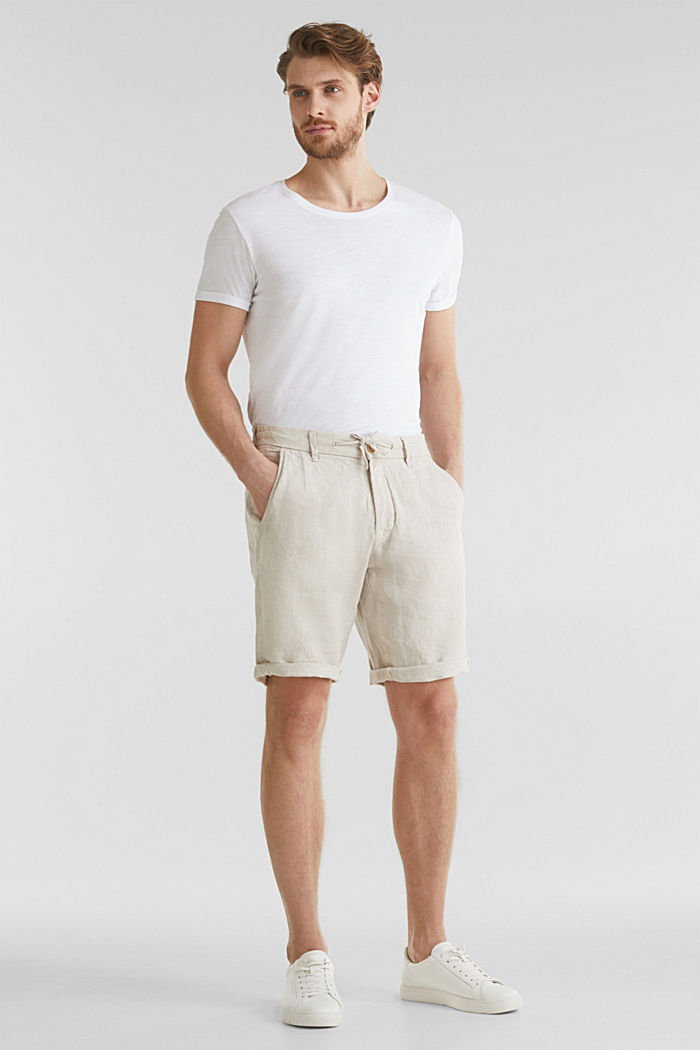 100% linen: shorts with a drawstring, BEIGE, detail image number 0