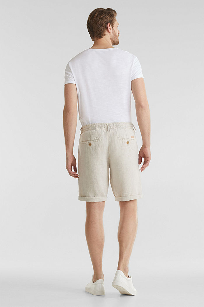 100% linen: shorts with a drawstring, BEIGE, detail image number 3