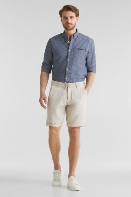 100% linen: shorts with a drawstring, BEIGE, detail