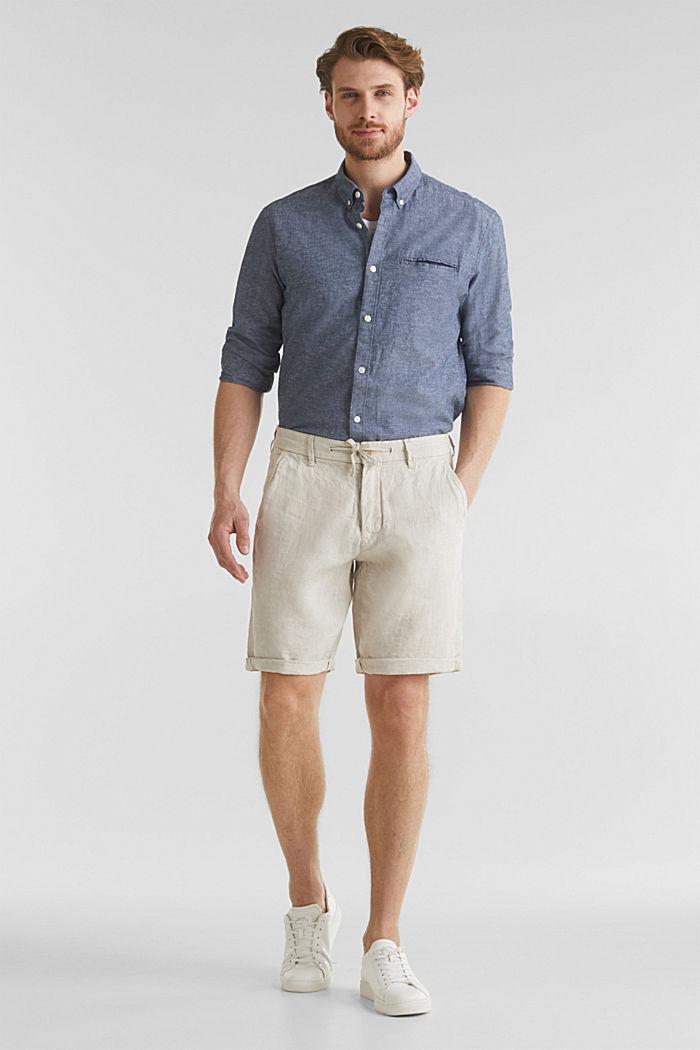 100% Leinen: Shorts mit Kordelzug