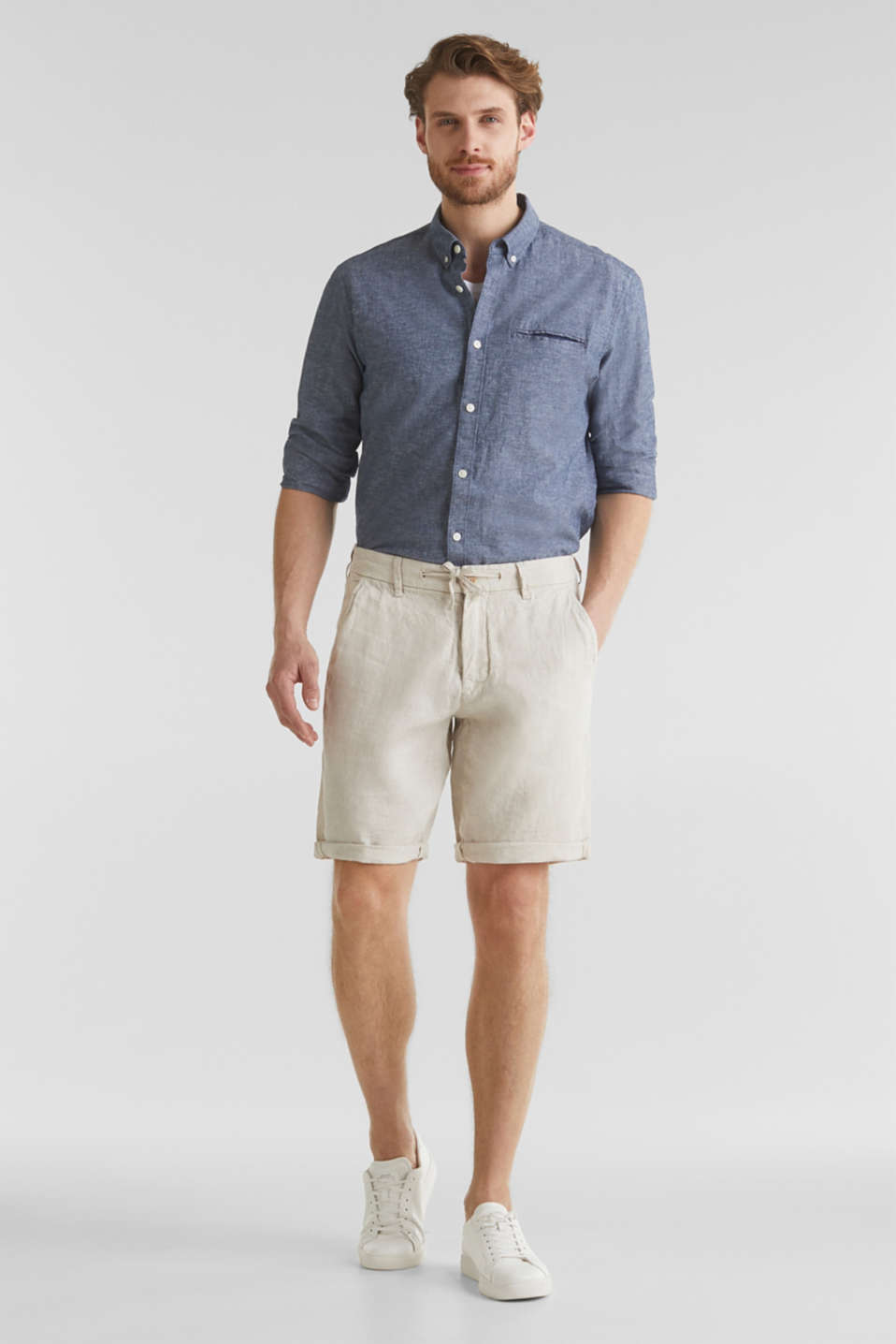 100% linen: shorts with a drawstring, BEIGE, detail image number 1