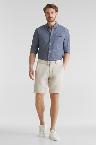 100% linen: shorts with a drawstring