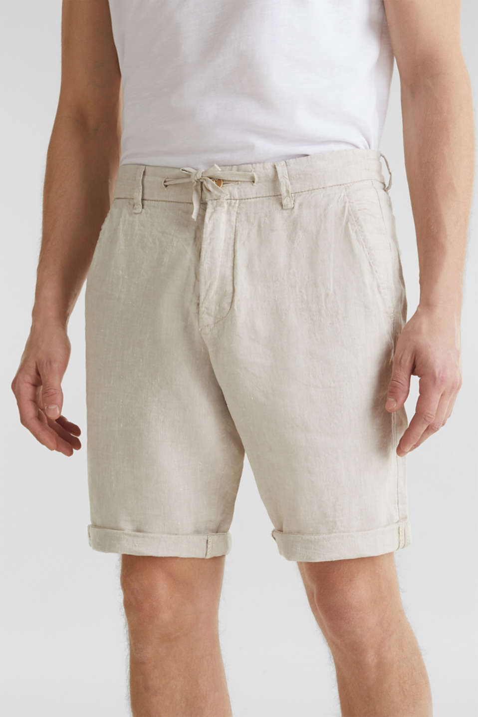 100% linen: shorts with a drawstring, BEIGE, detail image number 2