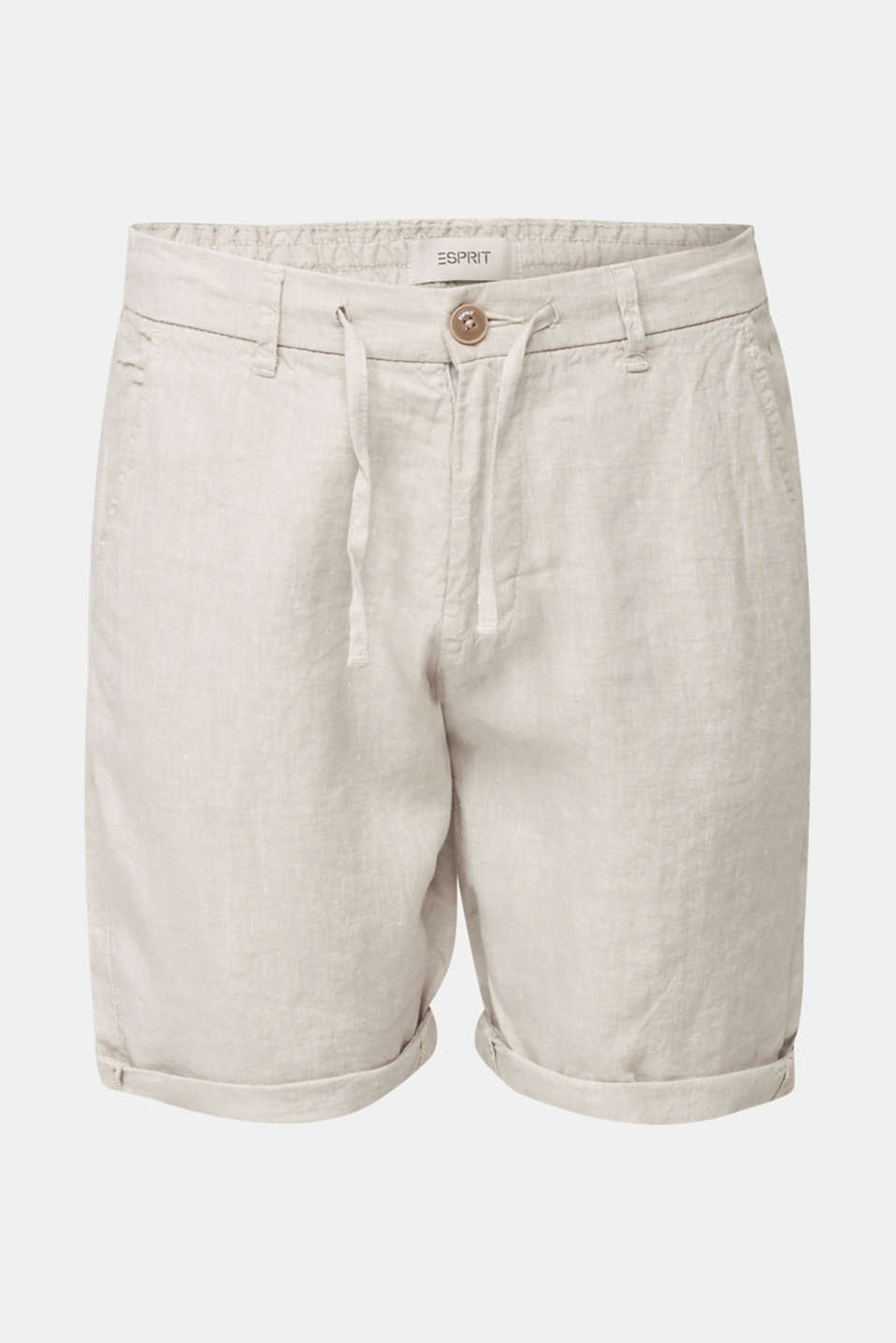 100% linen: shorts with a drawstring, BEIGE, detail image number 5
