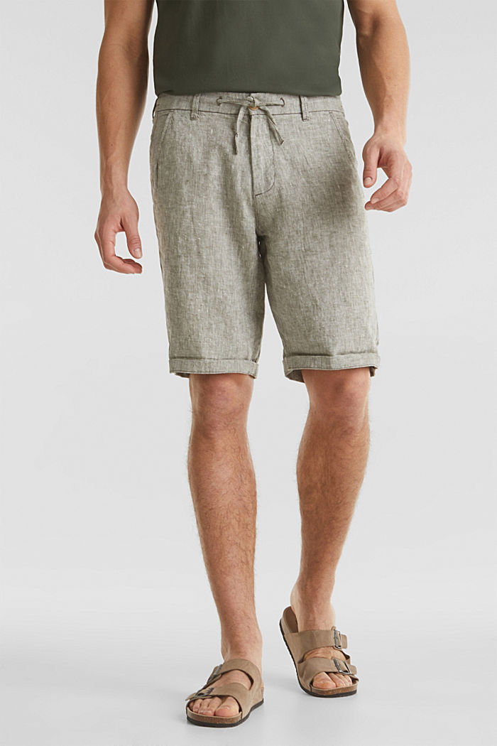 100% linen: shorts with a drawstring, LIGHT KHAKI, detail image number 0